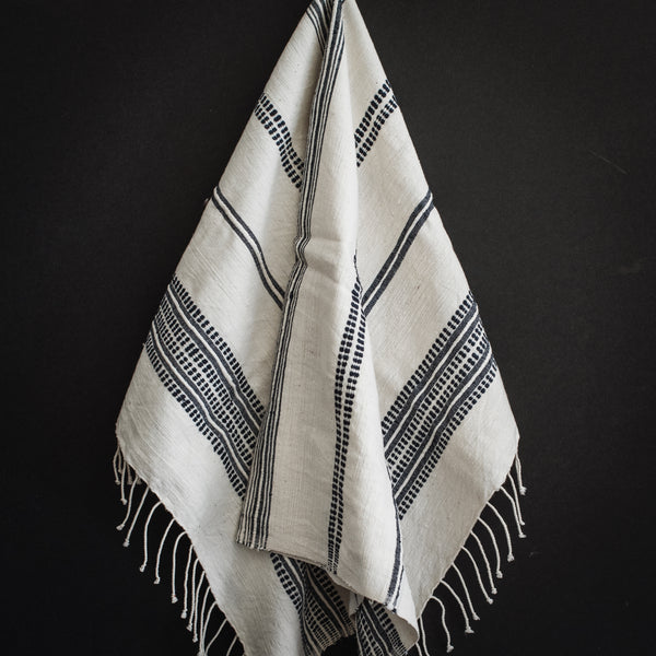 Aden - White with Navy Hand Towel
