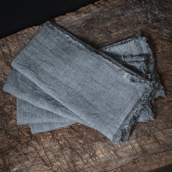 Stone Washed Linen Dinner Napkin - Slate Set of 4