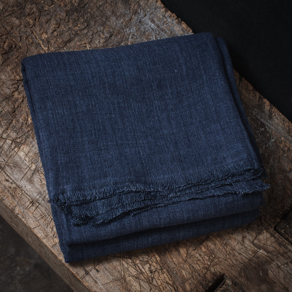 Stone Washed Linen Tablecloth - Indigo