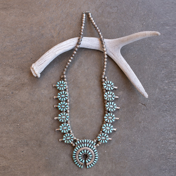 Turquoise Squash Blossom Necklace - Navajo (Larry Moses Begay) #3
