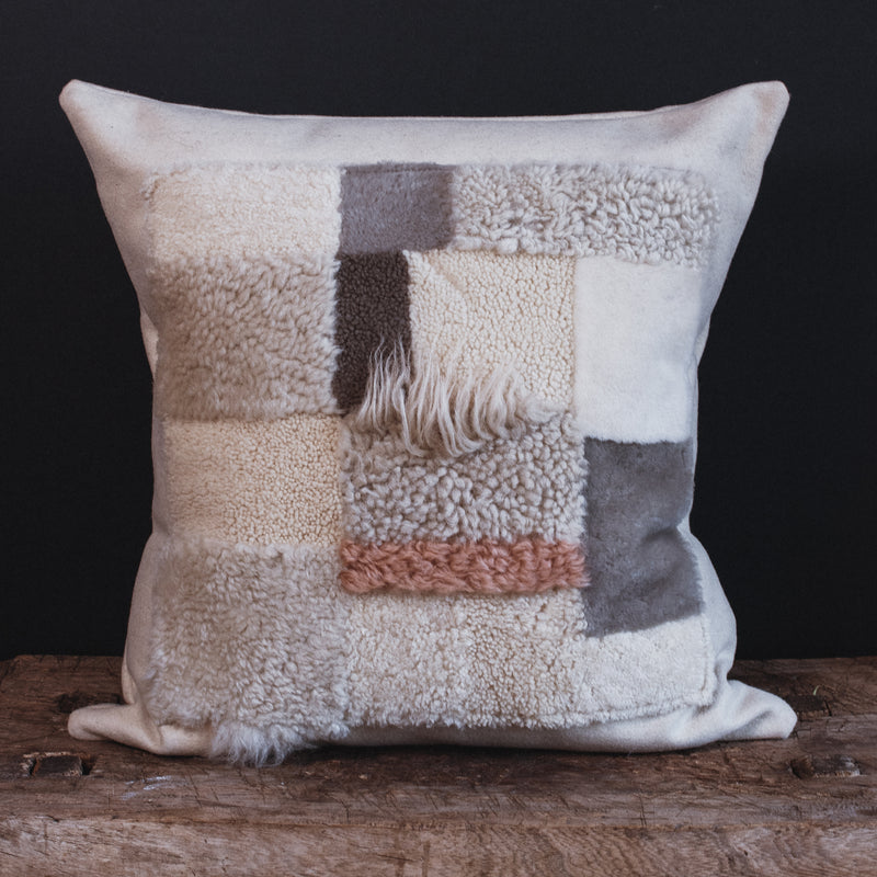 Patchwork Sheepskin Cushion