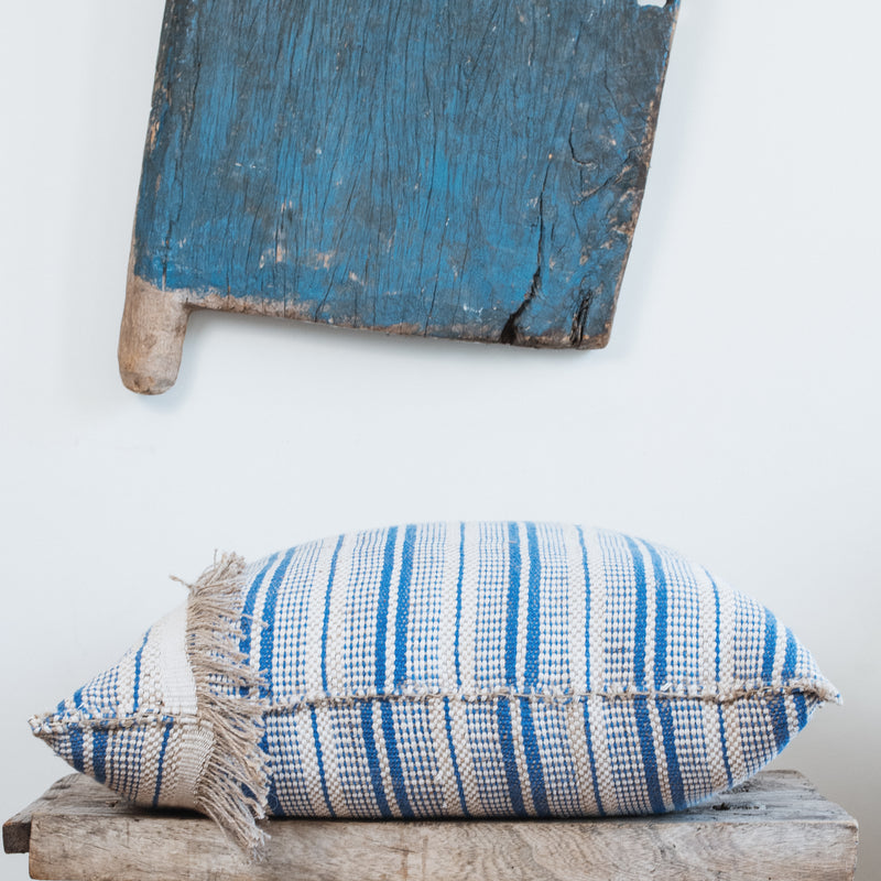 Jute and Cotton Cushions - Blue