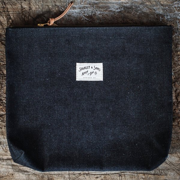 Large Denim Zip Pouch
