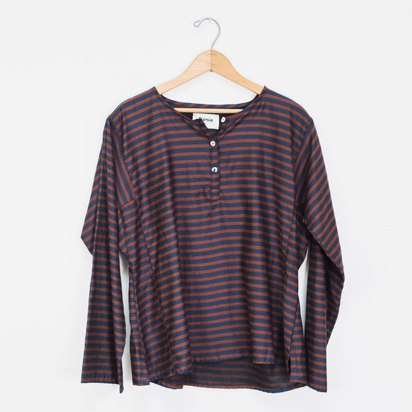 Basque Shirt- Burgundy Stripe
