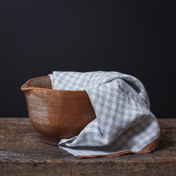 Two-Tone Gingham Towels-Set of 2-Blue/Cognac