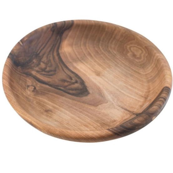 Black Walnut Medium Plate with Curved Edge 10 inch