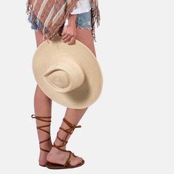 Sun Hat with 4 Inch Brim and Fedora Detail