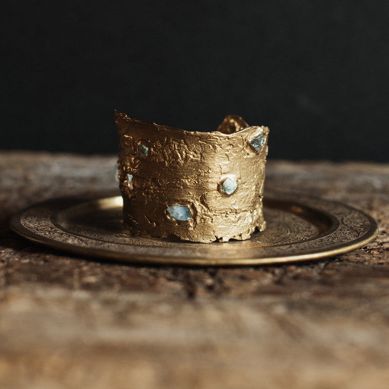 Kindling Cuff - Aquamarine, emerald, tanzanite