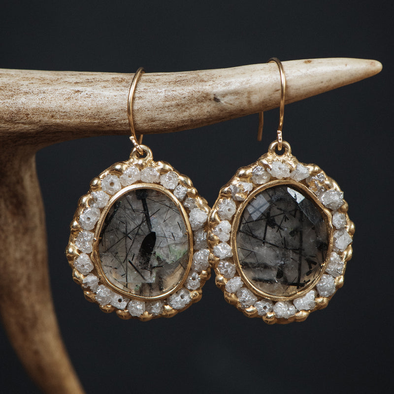 Solar Plexus Earrings - quartz and diamonds