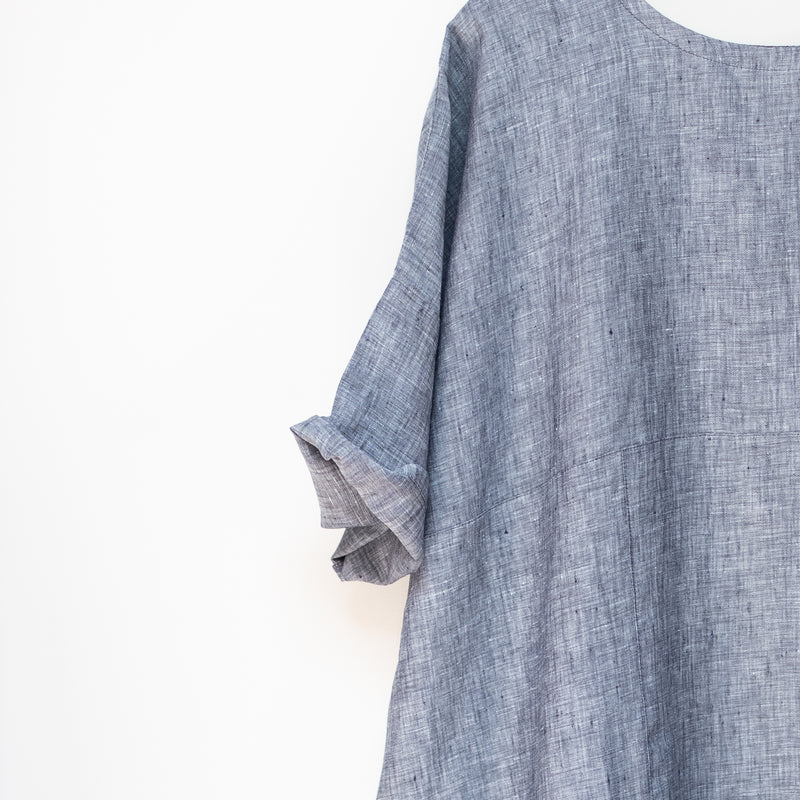 Chambray Matilija Dress - Blue & Grey