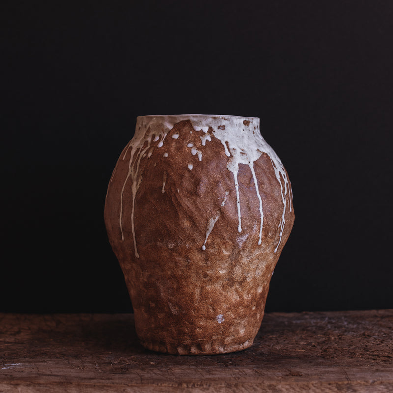 Medium Hand Built Vase with Drip Glaze
