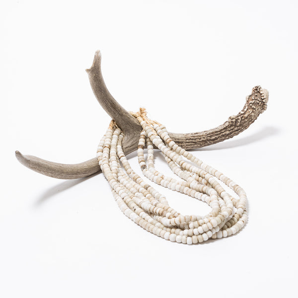 White Medium Vintage African Beaded Necklace