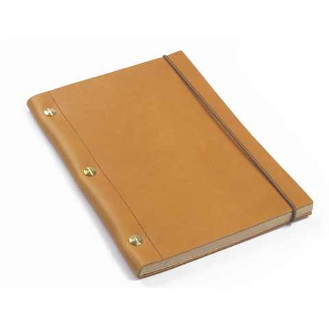 Medium Leather Notebook - Gold
