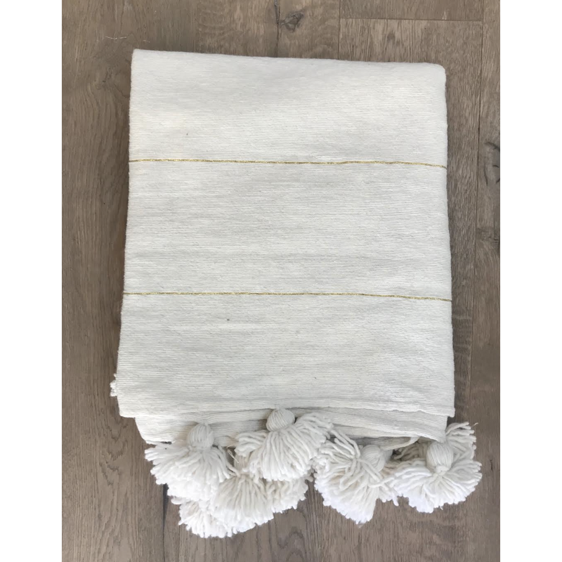 White and Gold Throw