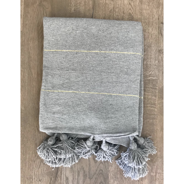 Grey and Gold Pom Pom Throw