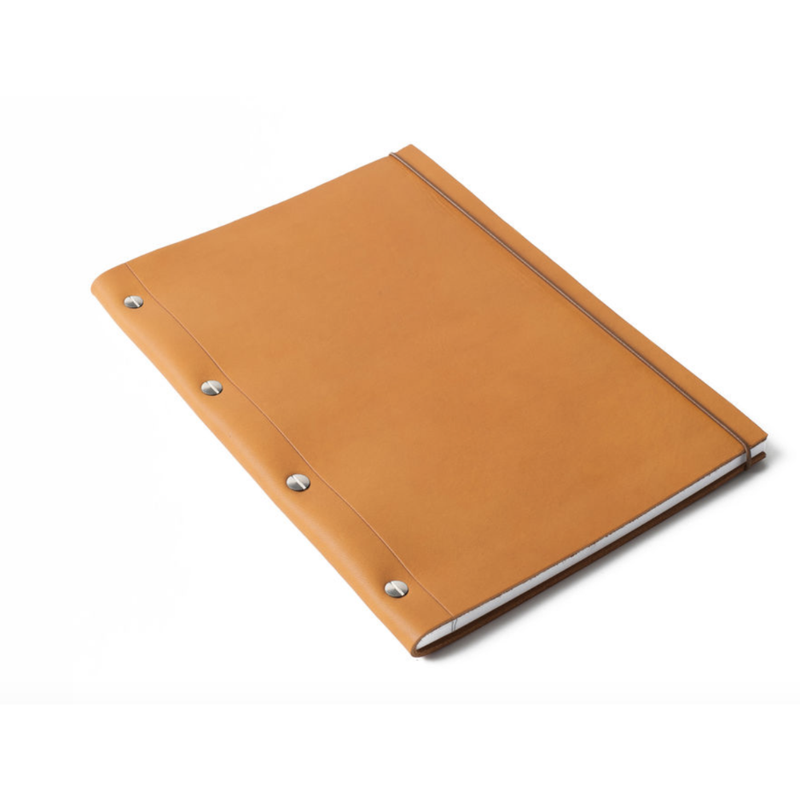Large Leather Notebook - Gold