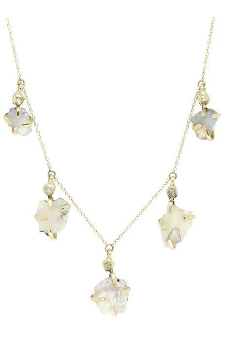 Milky Way Cascade Necklace - Rough Opal and Diamond