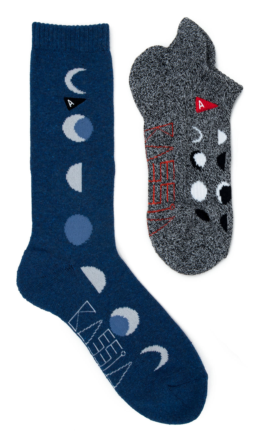 Blue moon phase long sock and grey moon phase bootie sock