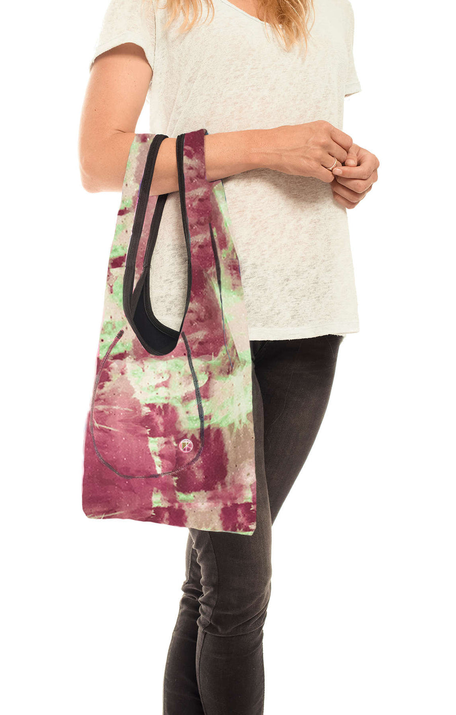 Purple-Green Tie-Dye Small Neoprene Tote