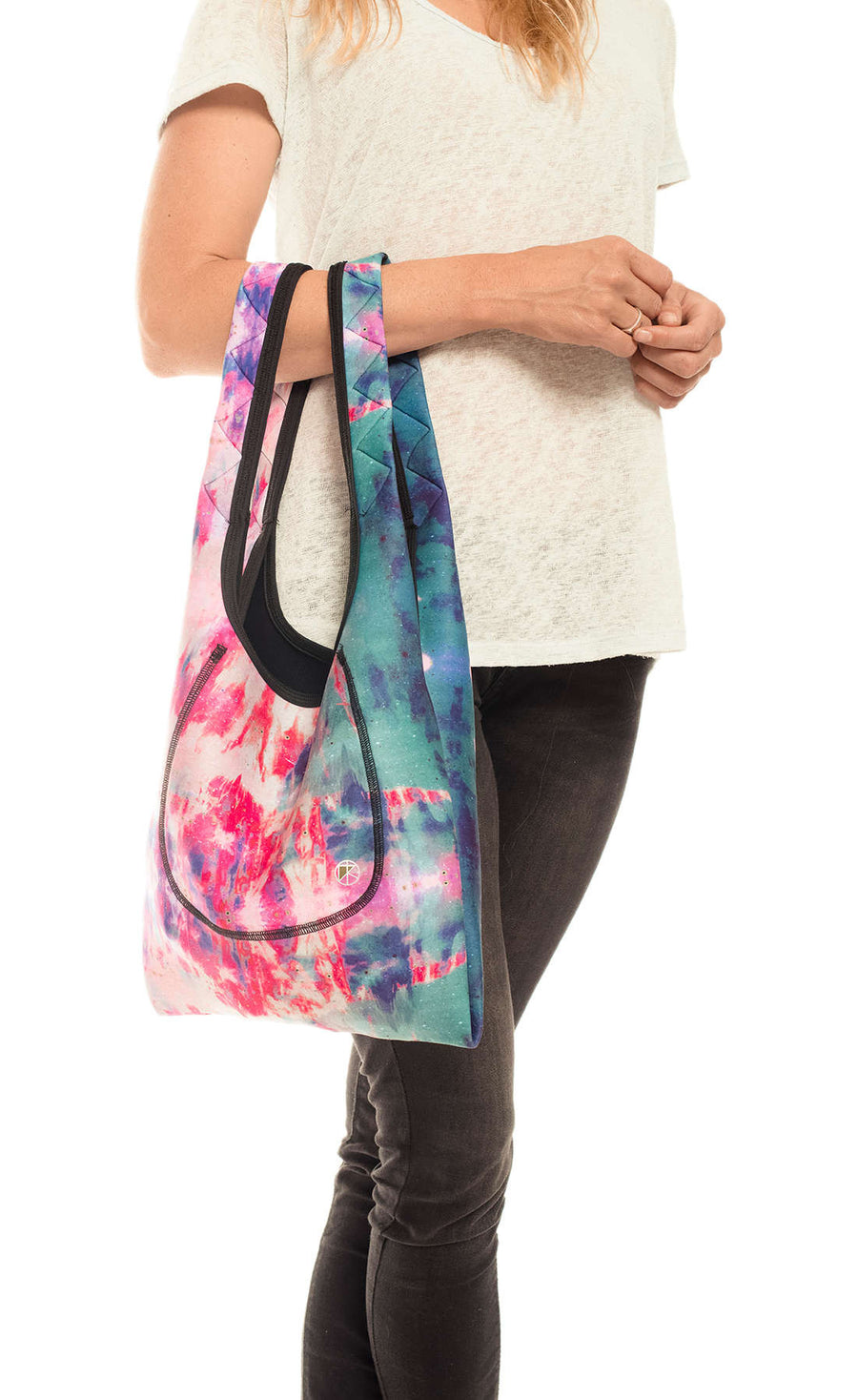 Pink-Turquoise Tie-Dye Small Neoprene Tote