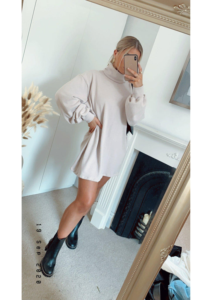 Knitted Roll Neck Baggy Jumper Dress