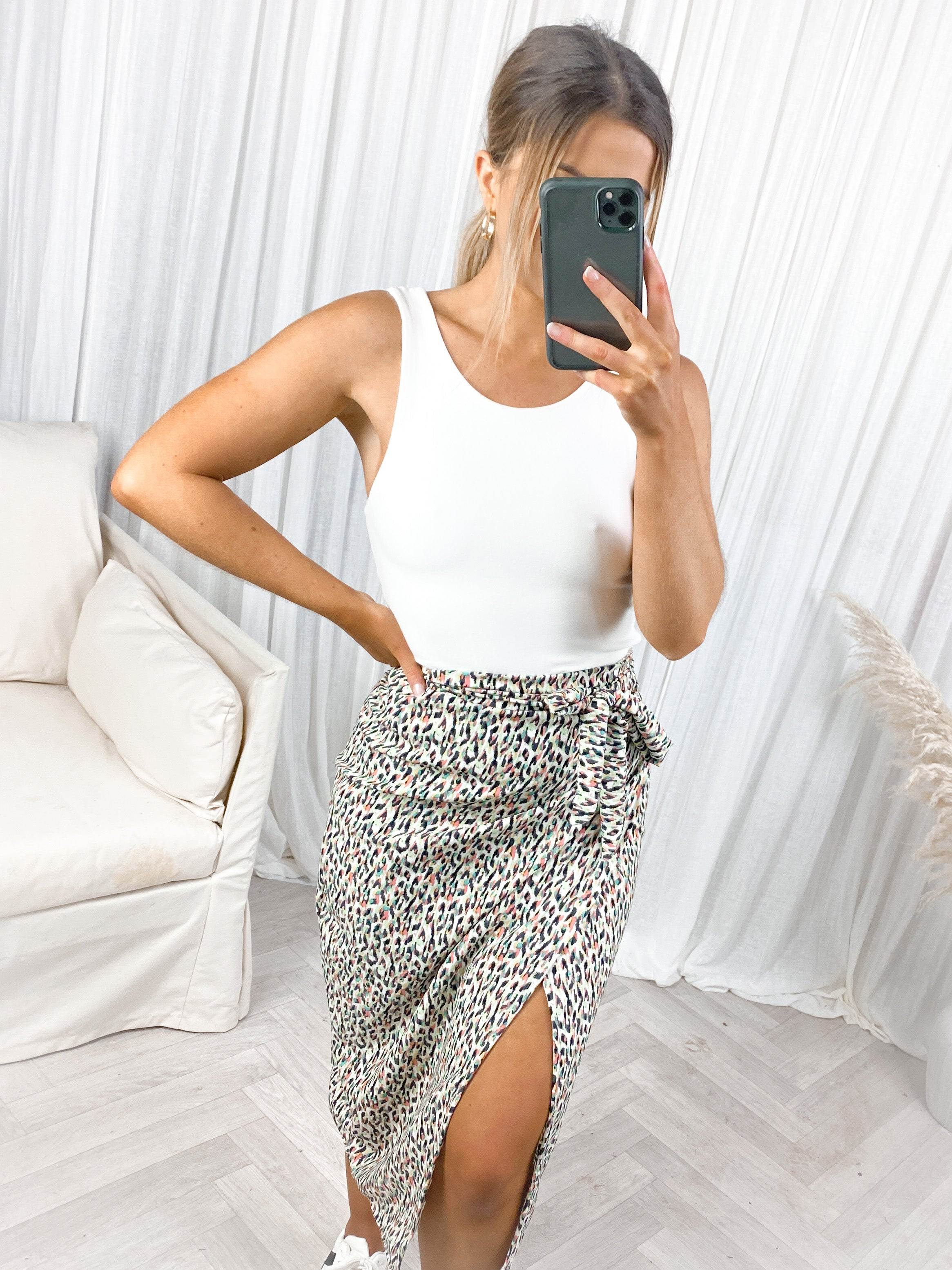 Polly Print Wrap Skirt ( Mint and Coral)