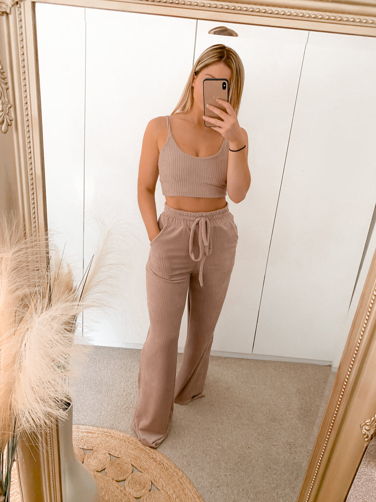 Knitted Ribbed Wide Leg Trousers