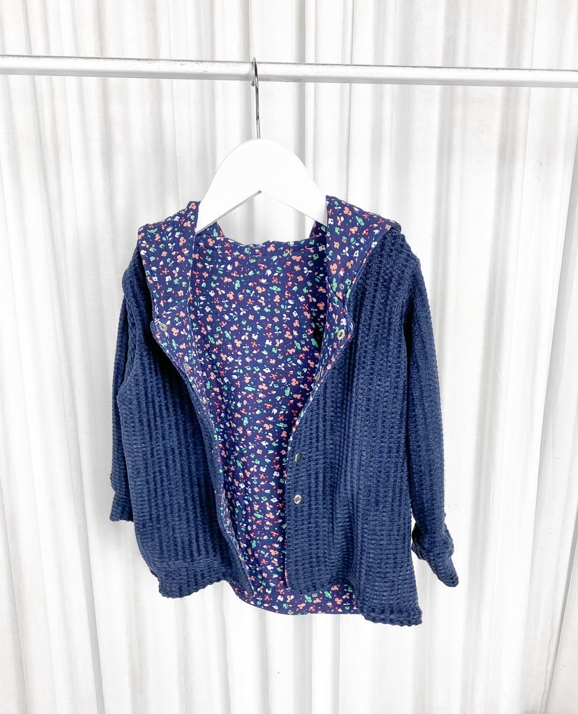 Navy Chenille with floral lining Be My Baby Cardi With Hood