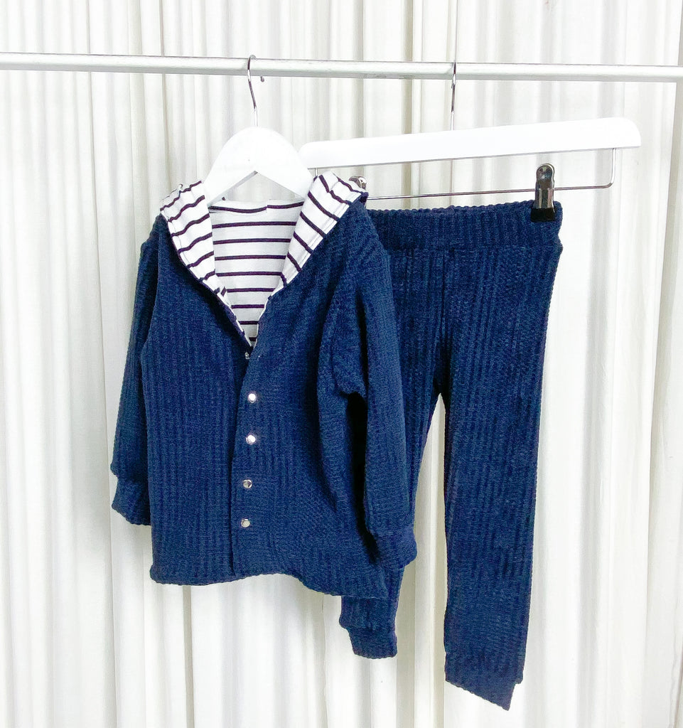 Navy Chenille with striped lining Be My Baby Cardi With Hood