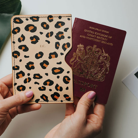 personalised leopard print passport holder create gift love