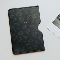 personalised black leopard print passport holder create gift love