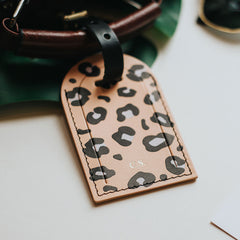 personalised pink leopard print leather luggage tag create gift love