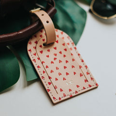 personalised heart print leather luggage tag create gift love