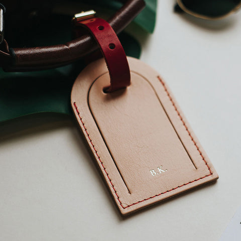 personalised leather luggage tag create gift love
