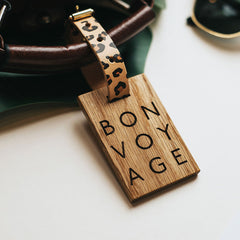 personalised wooden luggage tag bon voyage create gift love