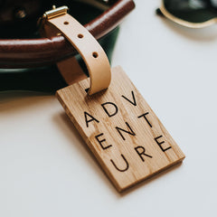 personalised wooden luggage tag adventure create gift love