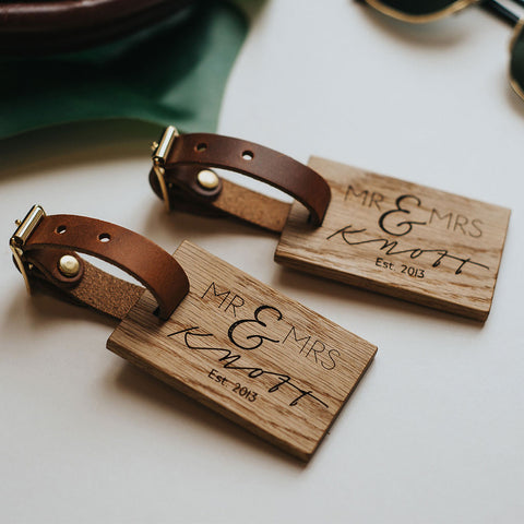 personalised wooden luggage tag wedding create gift love