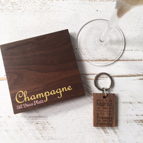Champagne Coaster and Friendship Keyring