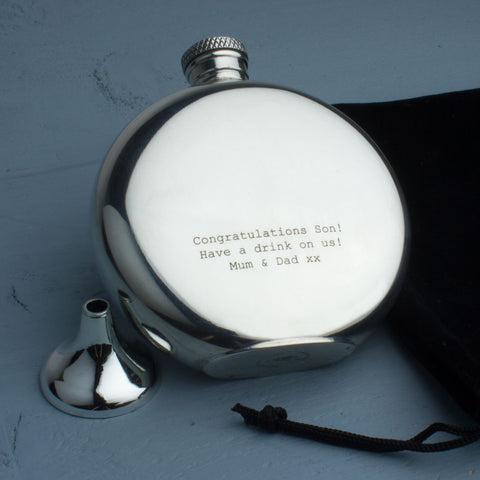Personalised Pewter Hipflask Congratulations