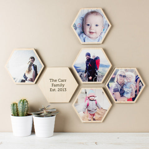 personalised-photo-hexagon-wall-art-set