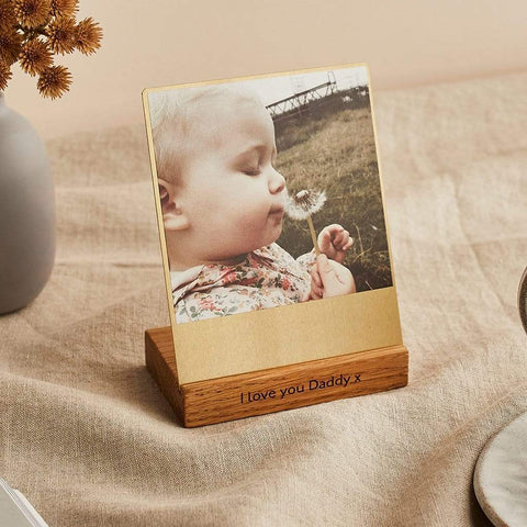 Personalised Brass and Wood Desk Photo Block - Create Gift Love