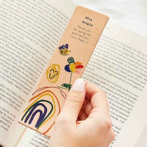 Personalised Child's Drawing Leather Bookmark - Create Gift Love