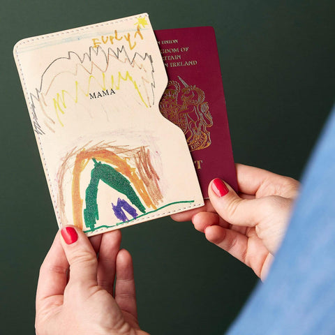 Personalised Child's Drawing Leather Passport Holder - Create Gift Love