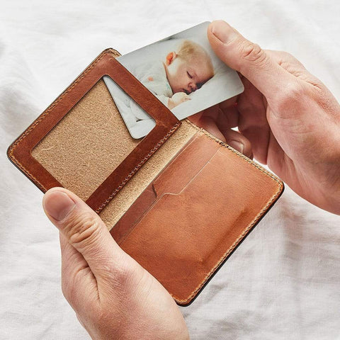 Personalised Leather Card Wallet With Photo Insert - Create Gift Love