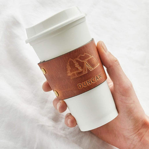 Personalised Leather Coffee Cup Sleeve - Create Gift Love