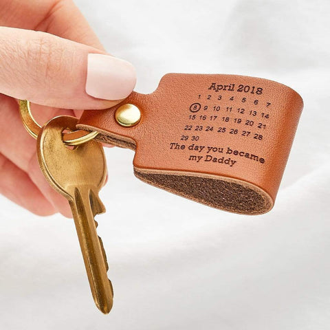 Personalised Leather 'Day You Became My....' Keyring - Create Gift Love