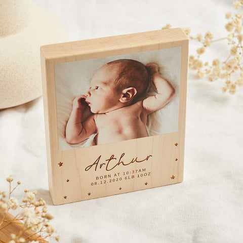 Personalised Wooden Photo Block With Engraved Name - Create Gift Love
