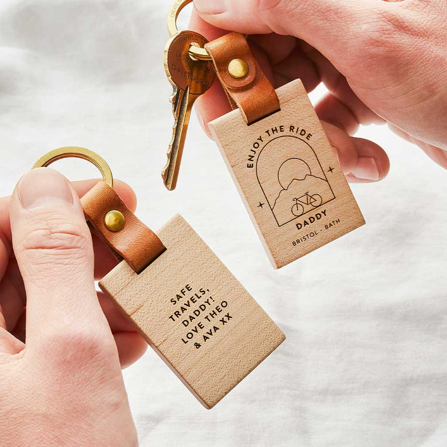 'Enjoy the Ride' Personalised Wooden Keyring Create Gift Love