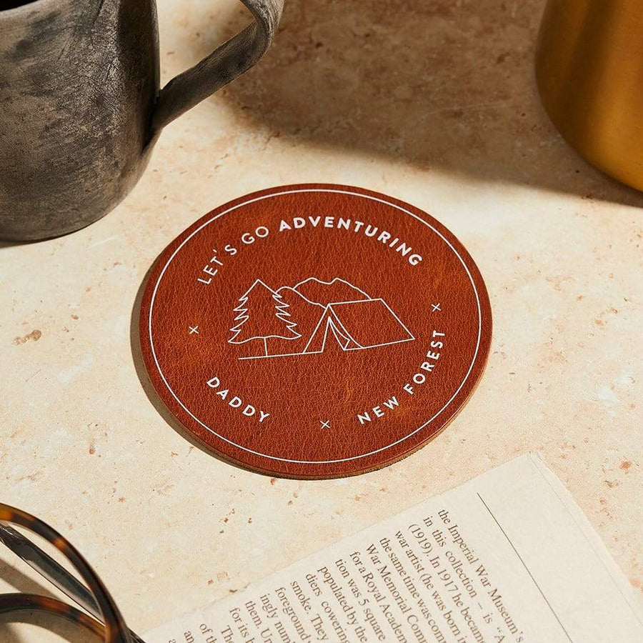 'Let's Go Adventuring' Personalised Leather Coaster Create Gift Love
