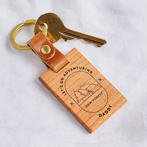 'Let's Go Adventuring' Personalised Wooden Keyring Create Gift Love